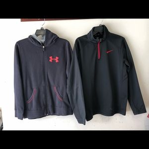 Under Armour zip up and Nike pullover